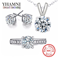 GALAXY Real 925 Sterling Silver Jewelry Sets 6mm CZ Diamond Wedding Ring Necklace Earrings Bridal Sets For Women African YS012