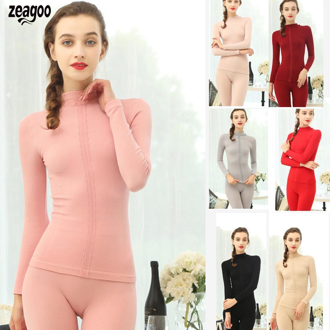 Women Casual Solid Winter Top Bottom Warm Ankle Length Winter/Autumn 45-70Kg Thermal Standard Underwear Set