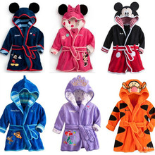 100% Cotton Baby Cloth Cartoon Characters Sleepwear & Robe Bathrobes Children Robe