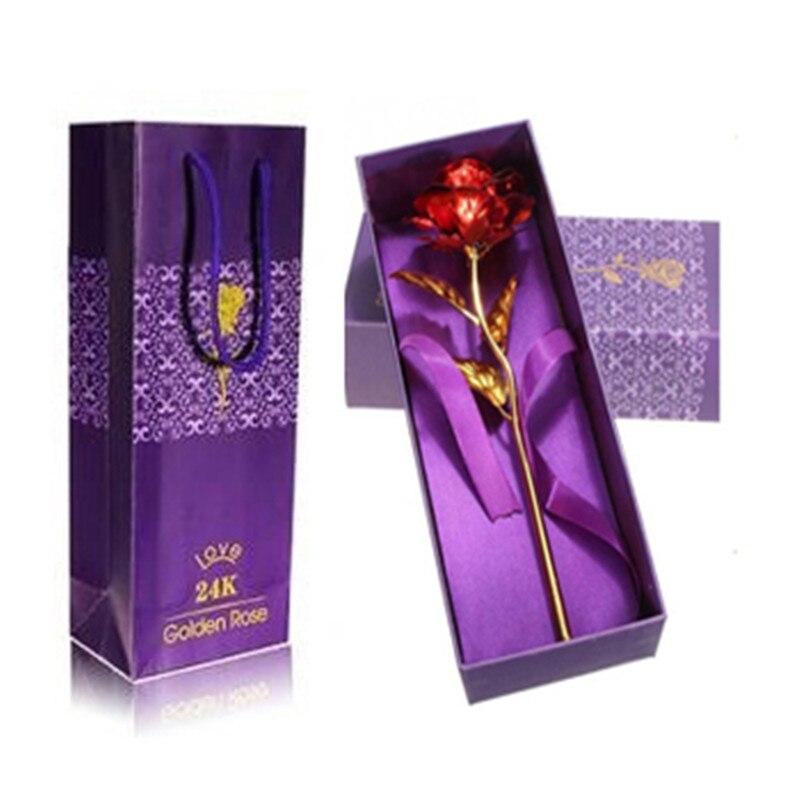 Folie Überzogen Rose Gold Rose Mit Original Box Hochzeit Dekoration Künstliche Blume Valentinstag Geschenk Tropfenverschiffen