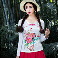 National Style Plus Size 6 Color Kind Of Embroidery Long Sleeve Round Neck Casual Slim Bodycon T Shirt Women Autumn Spring Tees