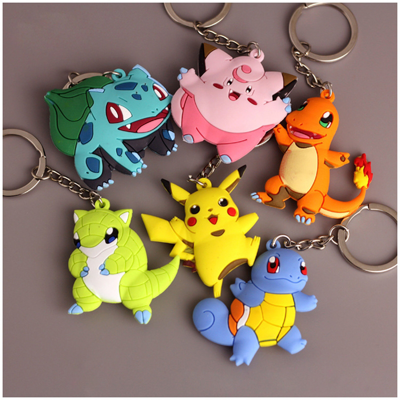Pikachu Keychain Pocket Monsters Key Holder Pokemon Go Key Ring Pendant 3D Mini Charmander Squirtle Bulbasaur Figure Toys
