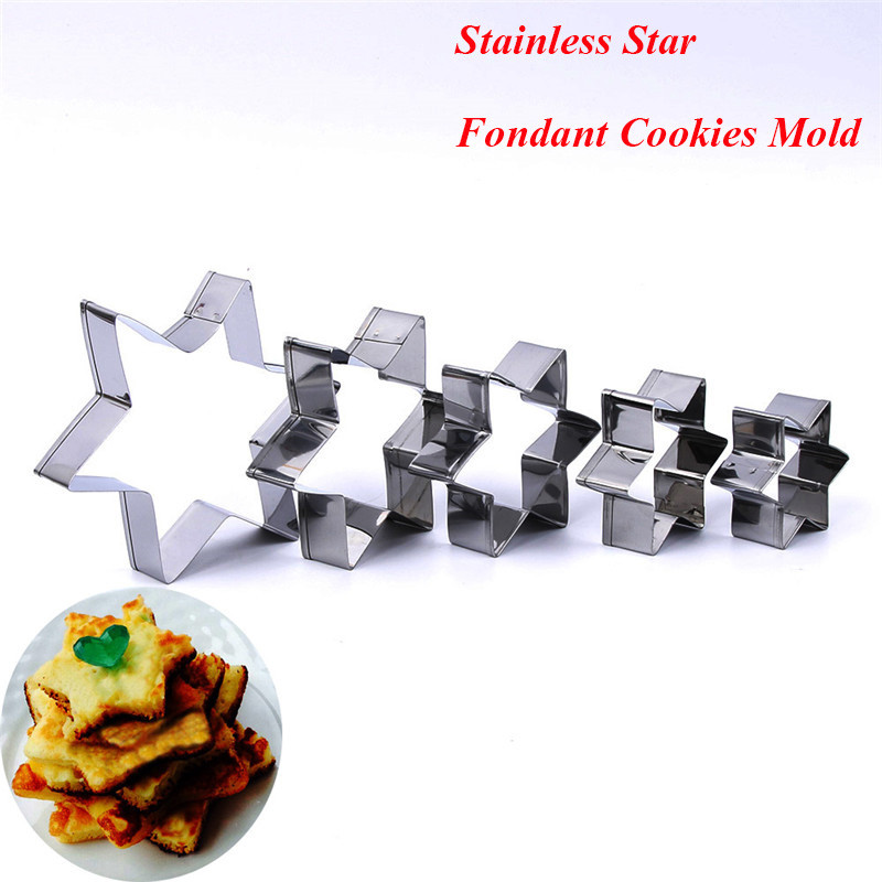 5Pcs/Set 3D Cookie Mold Star Stainless Steel Biscuit Cookie Cutter Tools DIY Baking Pastry Modelling Tools