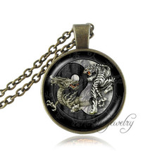 yin yang pendant necklace dragon tiger picture cross jewelry antique bronze animal necklaces glass cabochon pendants ying yang