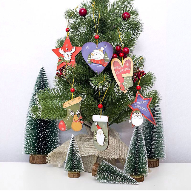 christmas tree decoration santa claus deer heart stars wooden painted xmas hanging ornaments christmas decorations for
