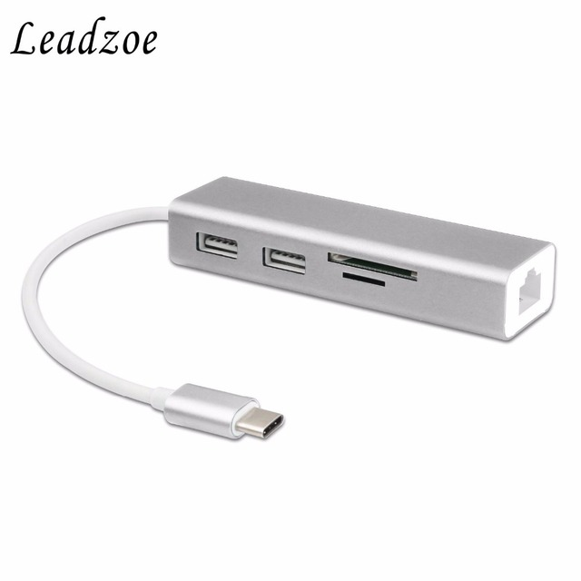 USB C Hub,Leadzoe Type C Adapter with 2 USB 3.0 Hub Splitter Ports&SD TF Card Reader&rj45 Gigabit Ethernet Network Converter