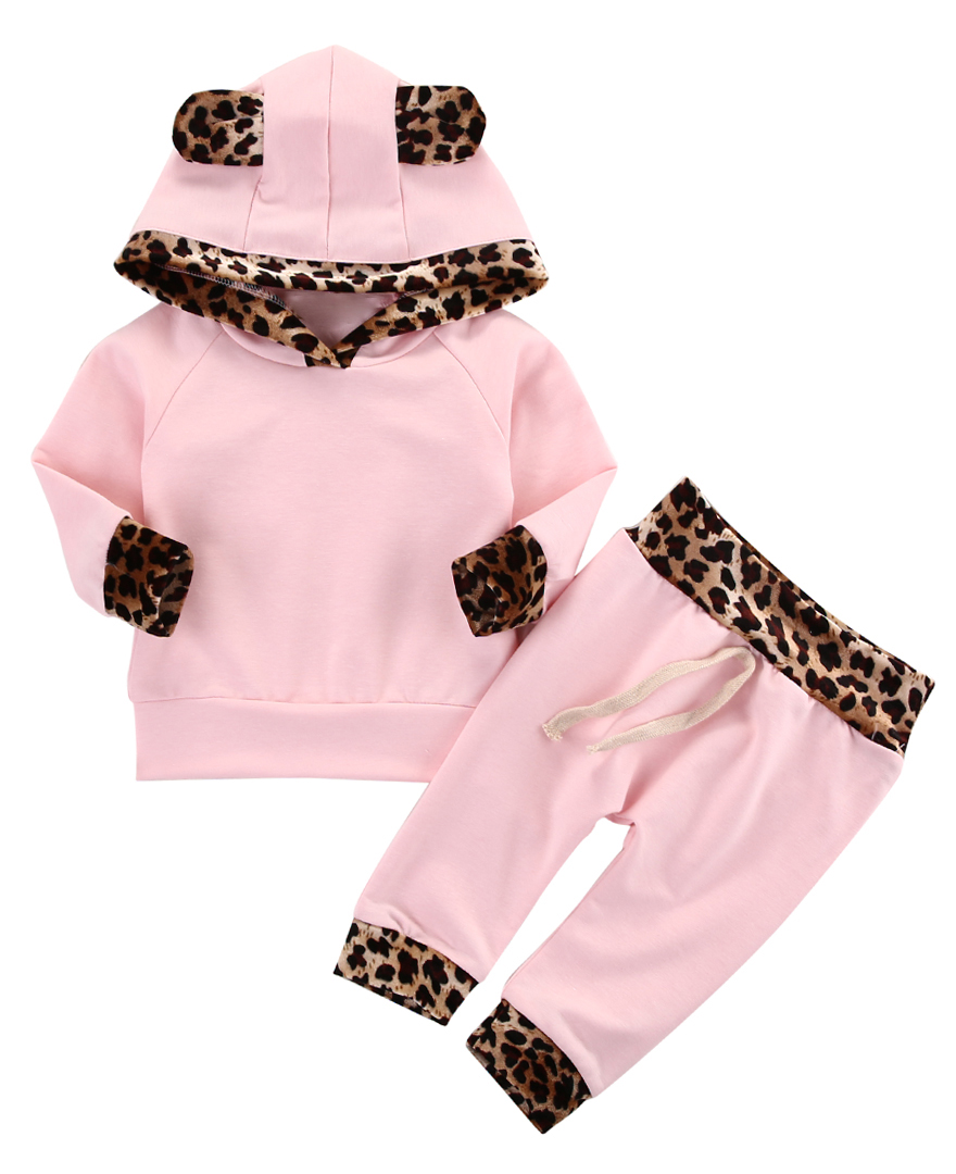 Cute Newborn Infant Baby Girls Clothes Set Hot Sweet Pink Leopard Hoodie Coat Tops+Pants Leggings Print Outfits Set