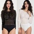 2016 Plus S-XL mujeres calientes del estilo atractivo del verano del traje de baño Lingerie media franja transparente malla Teddy Catsuit exótica Intimates Slips