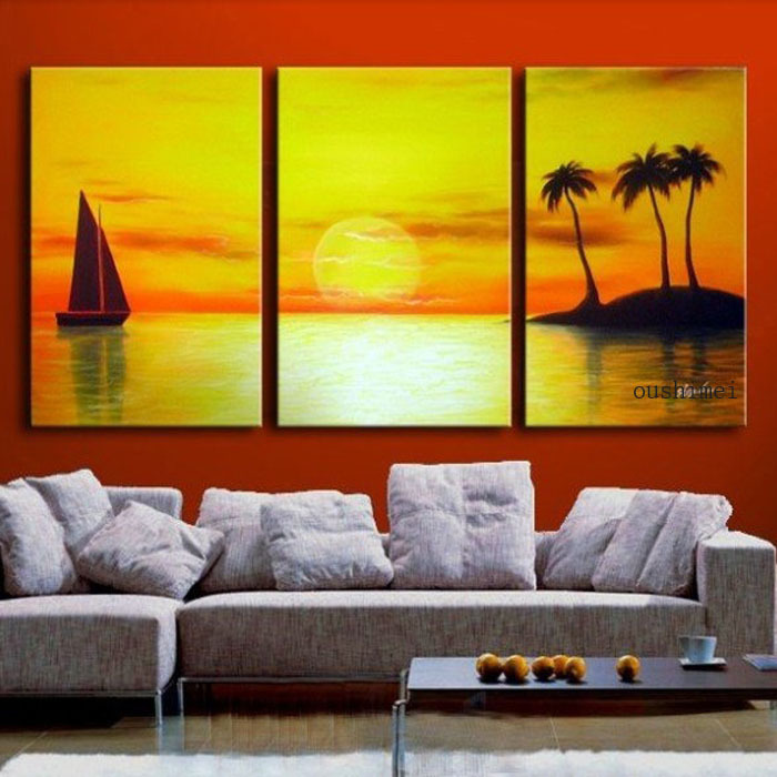 Hand Painted 3 Panel Wall Art Modern Picture Sunrise For Home ...