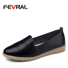 FEVRAL Woman' Shoes Casual Ballet Soft Genuine Leather Loafers Slip On Woman Flats Shoe Flexible Peas Footwear Large Woman Size