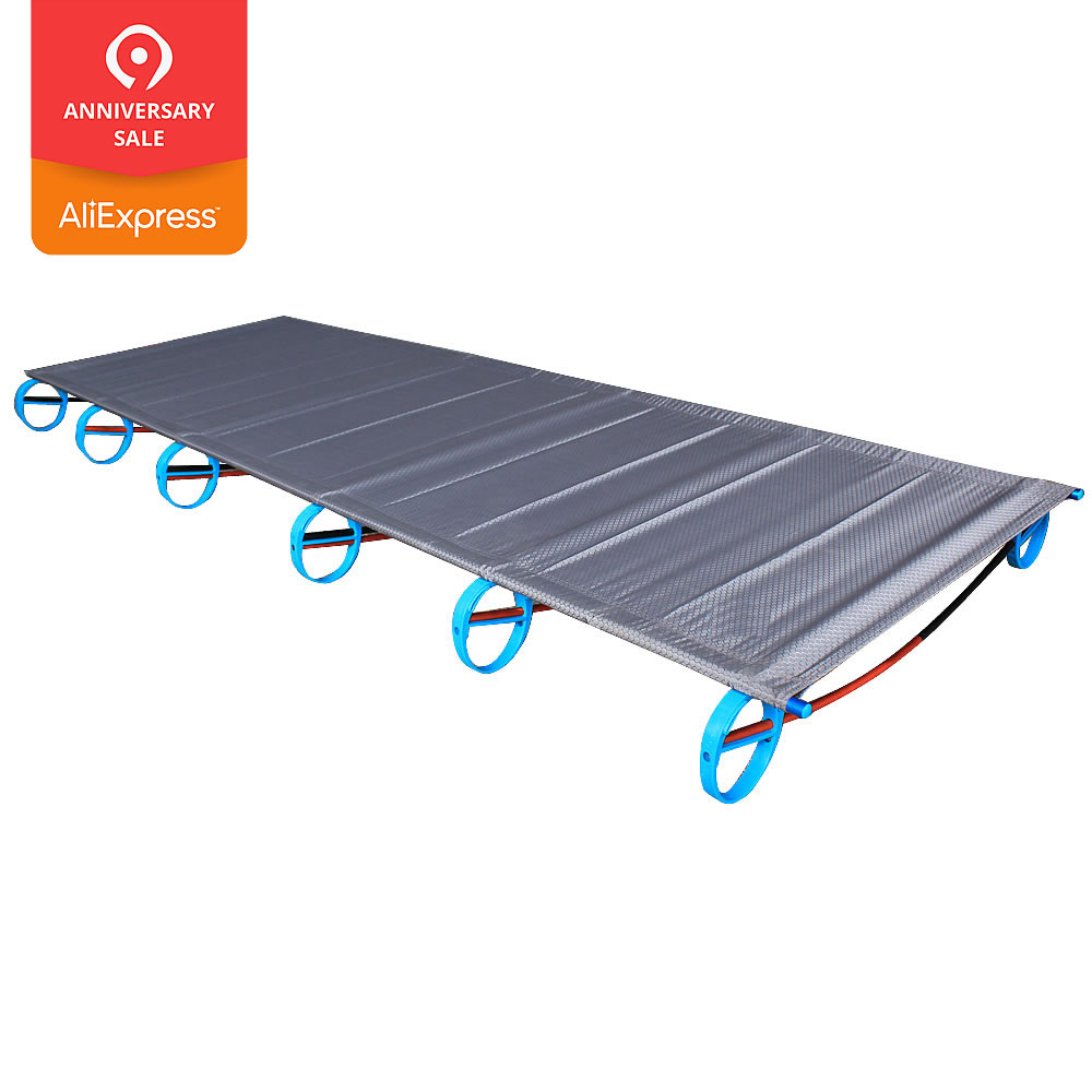 Hot Sale Camping Mat Ultralight Sturdy Comfortable Portable Folding Tent Bed Cot Sleeping Outdoor Camp Bed Aluminium Frame Sports & Entertainment Camping & Hiking