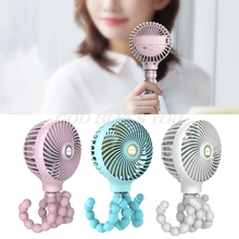 Mini Portable Hanging Octopus Shape Stand Adjustable Handheld USB Charging Fan Cooler for Baby Stroller Student Use