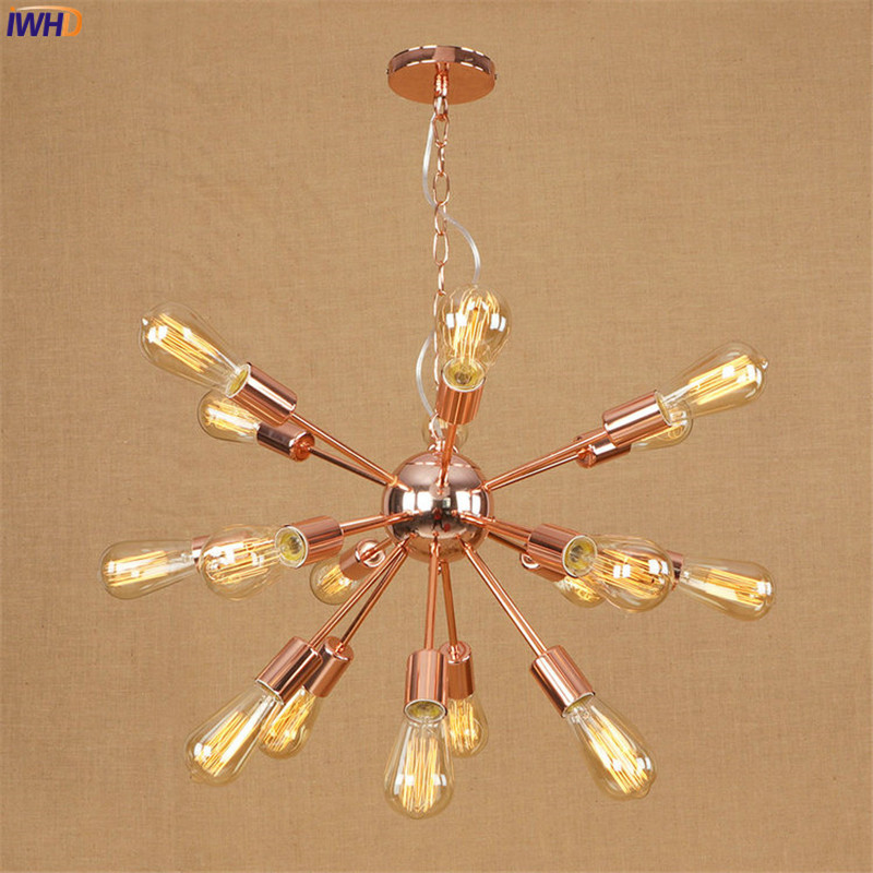 IWHD Loft Style Lampe Vintage Pendant Lights Fixtures Spider Wrount Iron Retro LED Edison Industrial Light Suspension Luminaire
