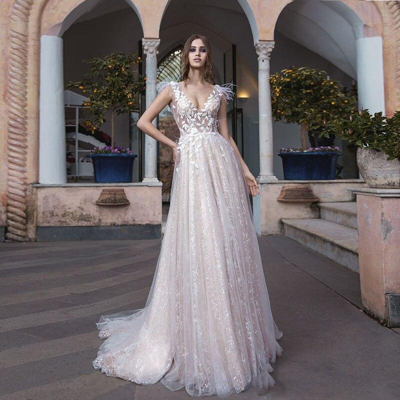 Aliexpress Com Buy Vestido De Noiva 2017 A Line Beach: Aliexpress.com : Buy 2019 Spring Wedding Gowns A Line V