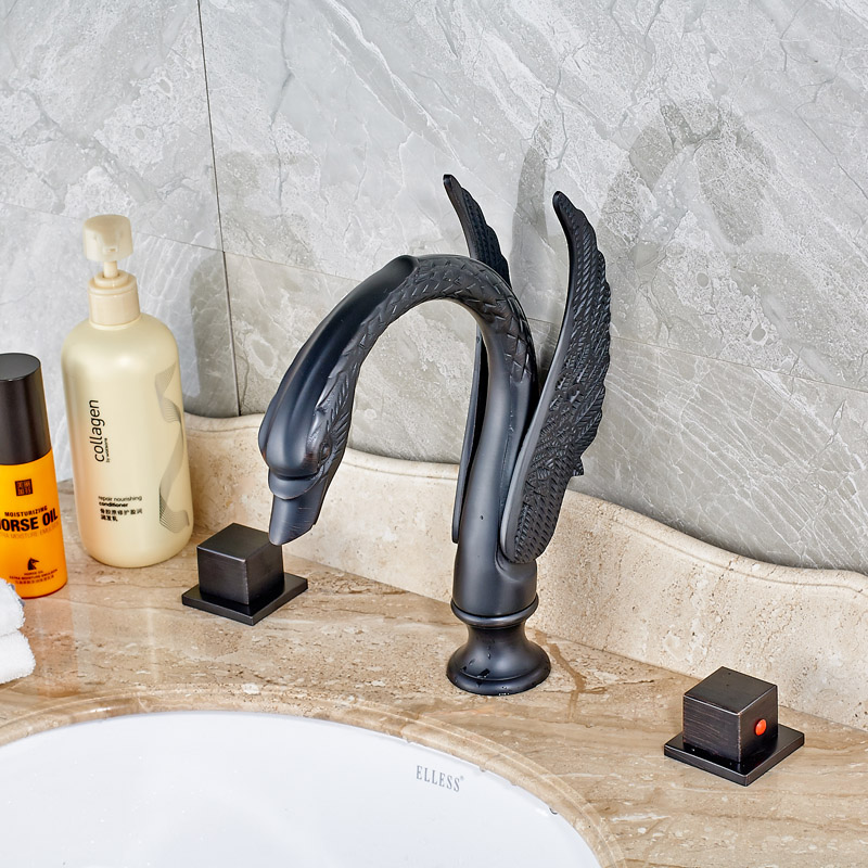 Deck Mounted Bathroom Sink Faucet Widespread 3pcs Bathtub Faucet Waterfall Spout Mixer Tap Oil Rubbed Bronze oil rubbed bronze bathroom sink mixer taps with waterfall spout water faucet