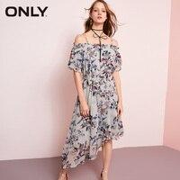 d7e3f966bf5723 ONLY Brand 2018 NEW Slash Neck Chiffon Long Print Irregular Hem Women Dress  118107602