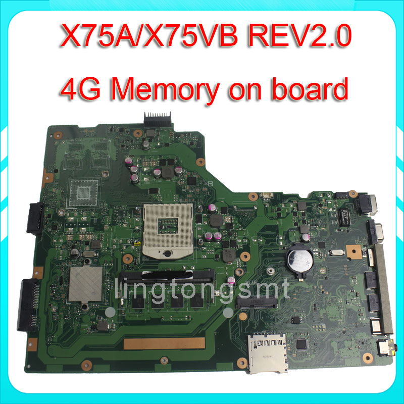 for ASUS X75A motherboard X75VB REV2 0 Mainboard 4G Memory On Board 100 test