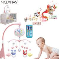 Musical Baby Crib Mobile Toy Toddler Bed Bell With Animal Rattles Projection Cartoon Early Learning Toys
