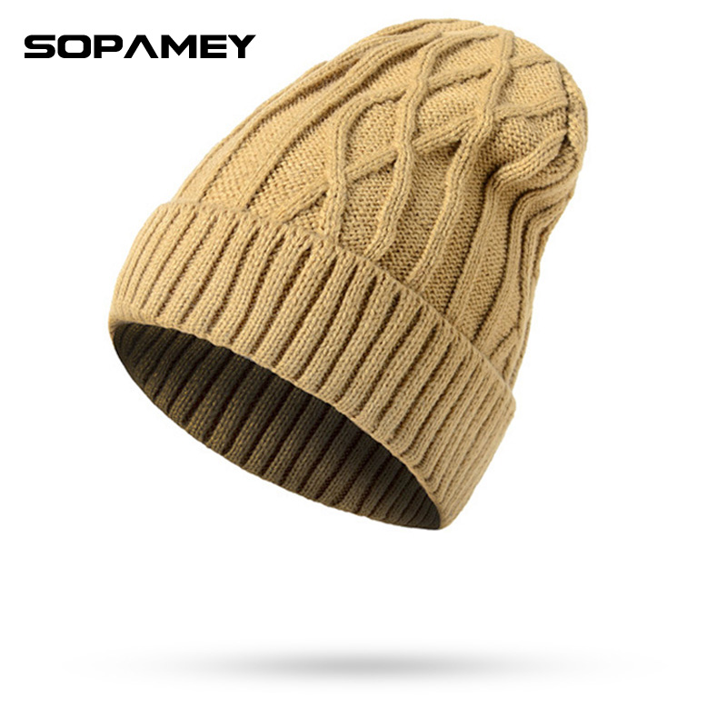 2017 new men warm hats beanie hat winter knitting wool hat for unisex caps lady beanie knitted caps women s hats warm z1 Men Warm Hats Beanie 2017 Winter Knitting Hat for Unisex Caps Lady Beanie Knitted Caps Women's Hats Outdoor Sport Warm Dad Hat