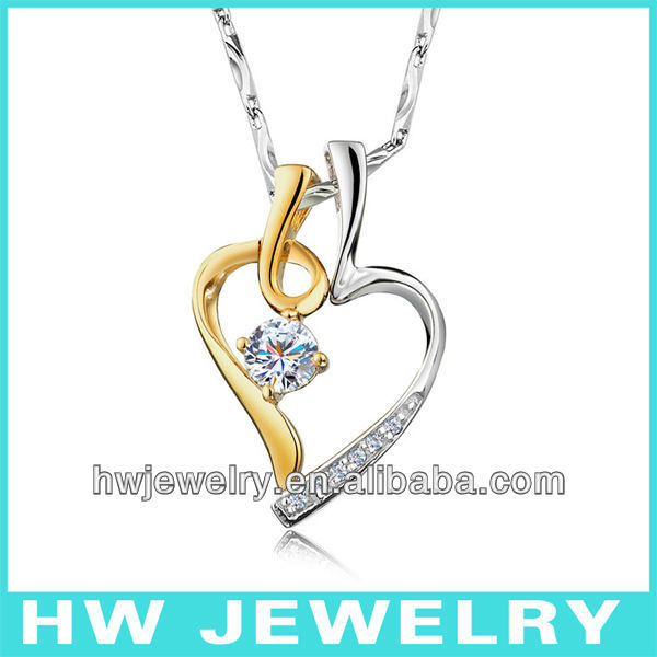 15174 two piece heart pendant for two 925 silver rhodium gold plating zircon pendants jewelry free