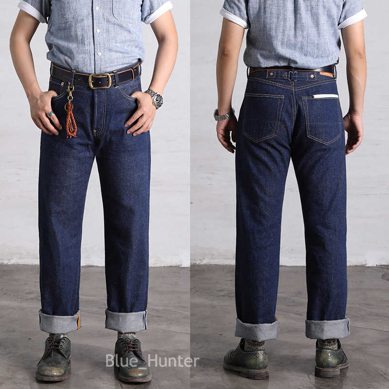 Red Wind Repro 702 Vintage Jeans Selvedge Denim High Rise Loose Fit Bue ONEWASH