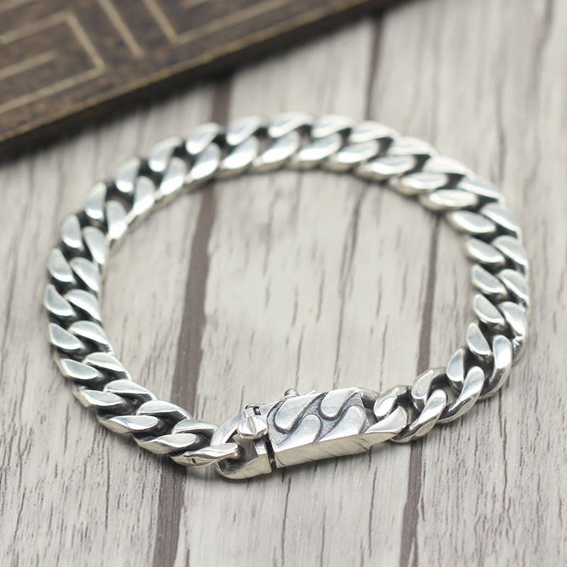 S925 Sterling Silver Tide Models Men Simple Braided Bracelet Personality Generous Retro Glossy Wild Thai Silver Chain