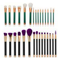 15Pcs Set Green Black Gold Makeup Brushes Set Kit Professional Foundation Brush Tool Beauty Cosmetic Tools