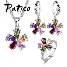 Top Quality Jewelry Set Shining Colorful Cubic Zircon Crystal Flower Necklace Earrings Rings Sterling Silver Bridal Sets(China)