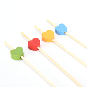 Image 4 - 100 PC Heart ไม้ไผ่อาหารบุฟเฟ่ต์ Cupcake ผลไม้ Fork PARTY เค้กขนมเค้กสลัดผัก Sticks ค็อกเทลไม้จิ้มฟัน Skewer 12 ซม.