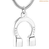 KLH12836 1 Clear Crystal Inlay Stainless Steel Horseshoe Cremation Urn Pendant,Wholesale Keepsake Jewelry for Ashes Or Memorial