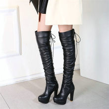 hot deal buy nayiduyun   thigh high boots women black lace up stretchy over the knee high boots round toe kitten high heel platform pumps