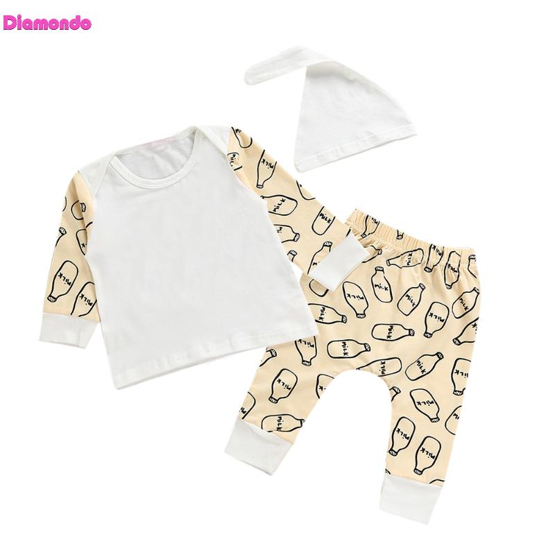3pcs Spring Baby Cotton Set Newborn Feeding Bottle Printed Long Sleeve T-shirt Tops+Pants+Hat Infant Girl Boy Soft Outfits Set
