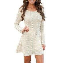 Sweater Dress Women 2017 Fashion Autumn Long Sleeve Loose  Mini Dress Casual Dress Clothes Vestidos LJ5980C