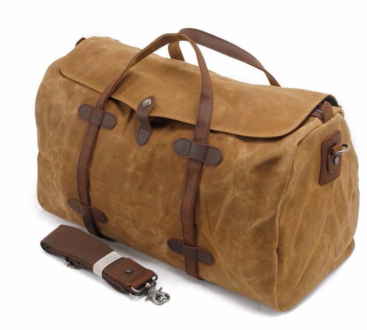 187a72a8c0eb Vintage Wax Canvas Luggage bag Men Travel Bags Carry on Large Men Duffel  Bags shoulder Weekend bag Overnight Big tote Handbag