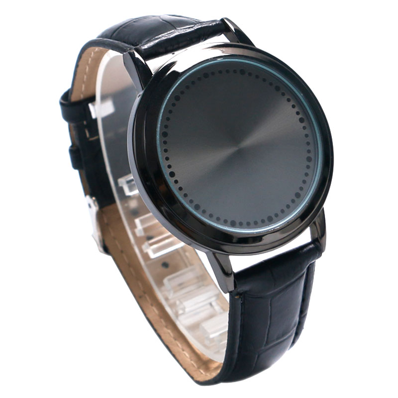 Watches Led Touch Screen Watch Unique Cool Watch With Tree Pattern Simple Black Dial 60 Blue Lights Watch With Soft Black Leather Strap Complete In Specifications Men's Watches