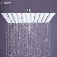 1 X Square Stainless Steel Ultra Thin Showerheads 8 Inch Rainfall Style Showerhead Bathroom Waterfall Effect