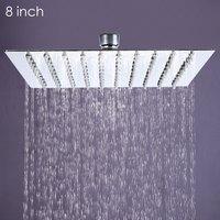 1 X Square Stainless Steel Ultra Thin Showerheads 8 Inch Rainfall Style Showerhead Bathroom Waterfall Effect