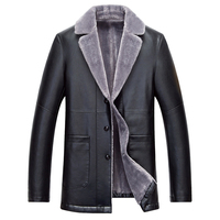 Winter Men Pu Leather Long Red Yellow Black Jacket Business Casual Fur Turn Collar Thick Outwear Jackets and Coats Plus Cashmere