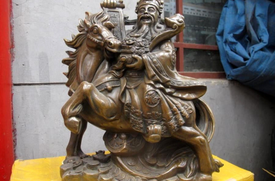 China Fengshui Old Bronze Treasure Bowl Wealth God On Horse Mammon Buddha Statue
