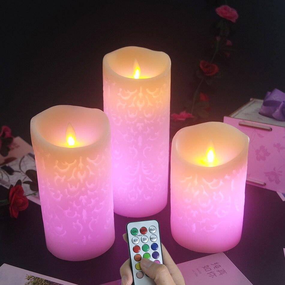 Lumière de bougie de cire de LED à couleur changeante à distance 3 pièces/ensemble, bougie de fête d'anniversaire, bougies de mariage, décoration de noël/nouvel an