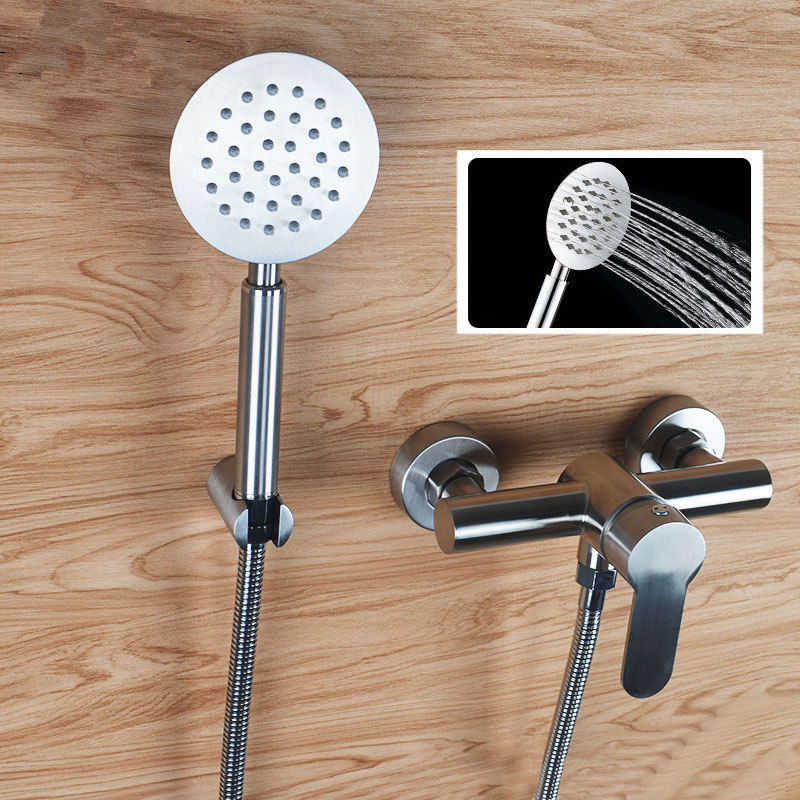 Cold and Hot Bathtub Faucet Shower Head Set Single Handle 304 Stainless Steel Wall Mount Faucets