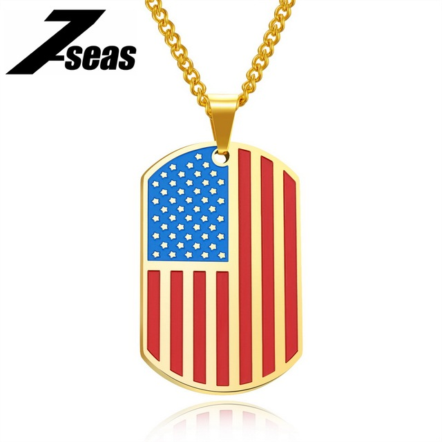 7seas american flag pendant necklace for men stars and stripes dog 7seas american flag pendant necklace for men stars and stripes dog tag design 57 62 aloadofball Choice Image