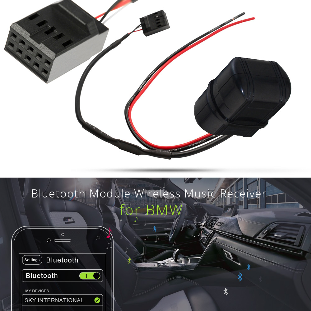 atocoto car bluetooth module aux in adapter 10 pin cable for bmw e46 3 series business cd radio wireless audio input [ 1000 x 1000 Pixel ]