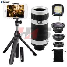 Cheaper Fisheye Wide Angle Macro Lentes 8X Zoom Telephoto Lens Telescope Lens Tripod Shutter Fill Light For Xiaomi mi6 mi5c redmi note 3