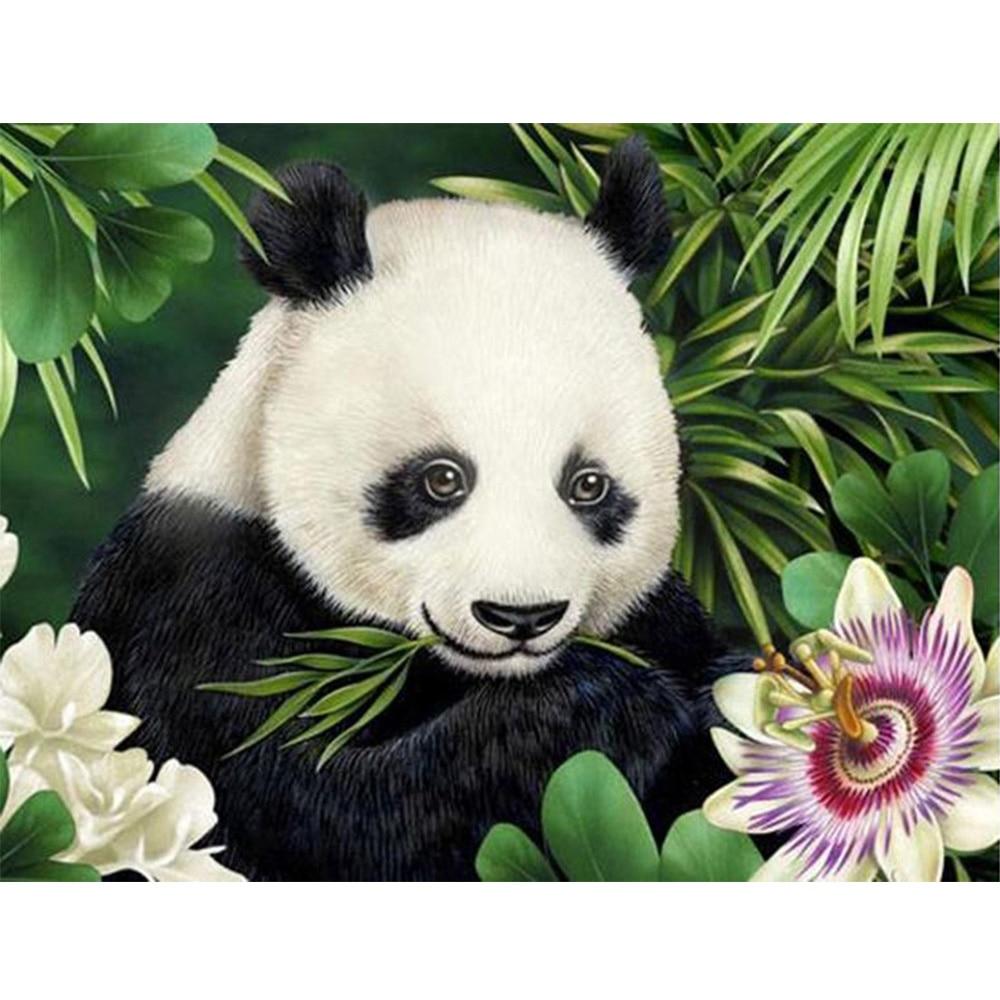 panda DIY 5D diamond painting Panda flower embroidery full rhinestones mosaic diamonds