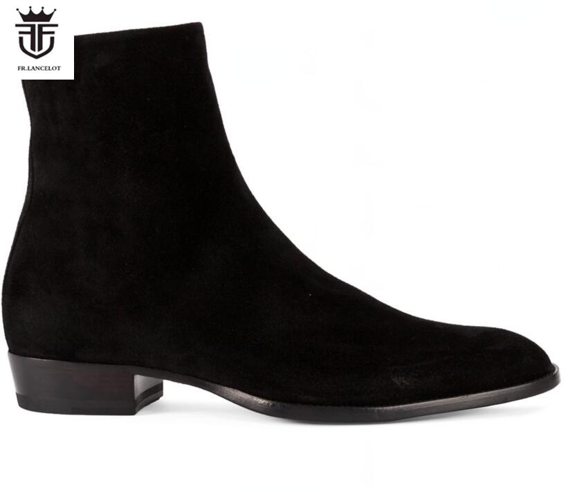 FR.LANCELOT 2018 New suede leather men booties zip up Chelsea Boots black suede Ankle Boots Men's Fashion party shoes vintage fr lancelot 2018 new arrival star boots men real leather boots glitter sequin leather booties zip up men party shoes