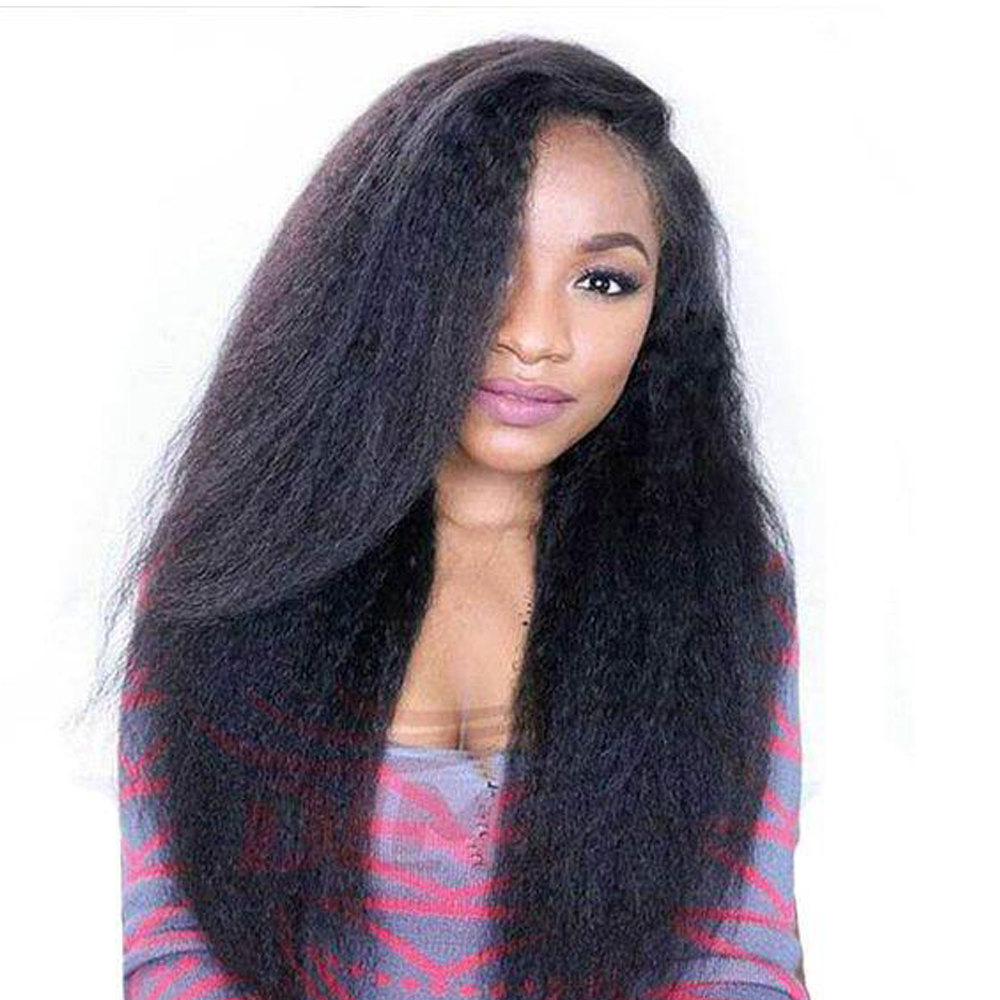 Sapphire Brazilian Kinky Straight Wig Lace Front Human Hair Wigs for Black Women Coarse Yaki Straight