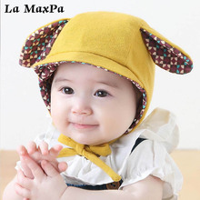 купить New Cute Baby Hats&Caps Spring Infant Baby Caps for Boys Girls Summer Sun Hat With Ear Sunscreen Caps Children Accessories дешево