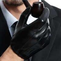 Man causal กลับสามเส้นจริงหนังหุ้มด้วยสั้น unlined ถุงมือหนังสีดำ