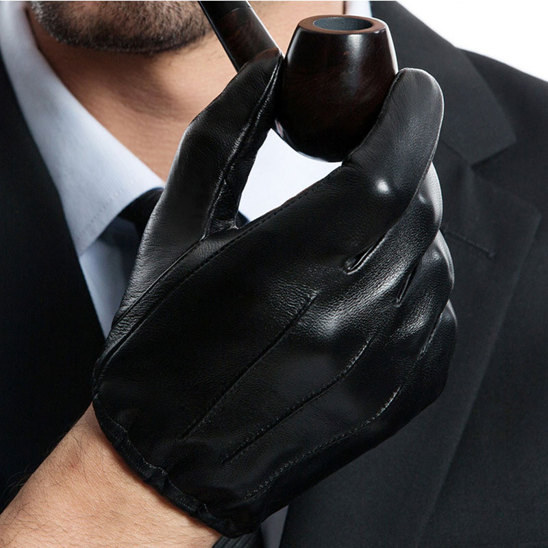 man causal back three lines real lleather short unlined leather gloves in black